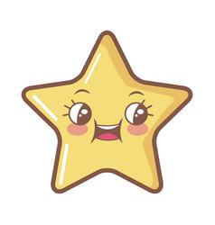 Kawaii star funny cartoon character icon vector