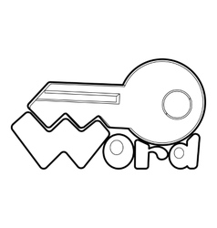 Key icon outline style vector