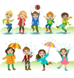 Kids Playing Under The Rain vector