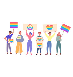 Lgbt pride with people holding rainbow signs flat vector