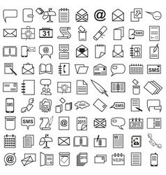 Line icons letter message calendar vector