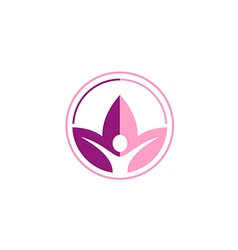 lotus flower yoga people sport logo vector image