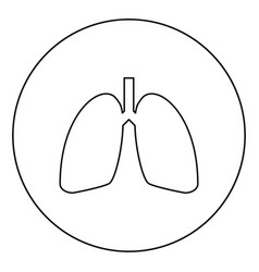 Lungs human icon in circle round outline black vector