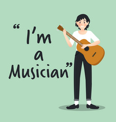 male musician character with guitar on sky blue vector image