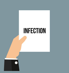 man showing paper infection text vector image