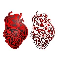 Maori style tattoo as heart shape vector