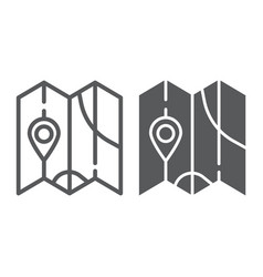 Map line and glyph icon direction and location vector
