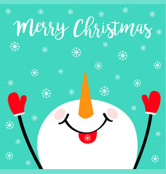 Merry christmas snowman looking up holding hands vector