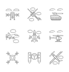 Military drones linear icons set vector image