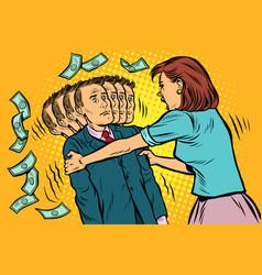 money demand the wife shakes her husband women vector image