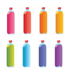 Multicolored water bottles vector
