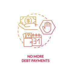 No more debt payment red gradient concept icon vector