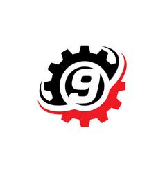 Number 9 gear logo design template vector