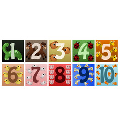 Numbers with cute animals vector