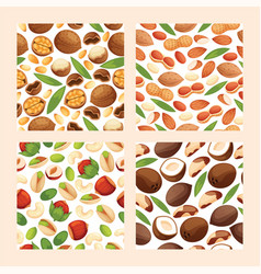 nut seamless pattern nutshell of hazelnut or vector image