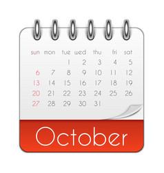 October 2019 calendar leaf template vector