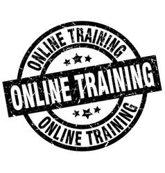 Online training round grunge black stamp vector