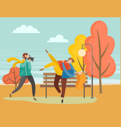 people walking in autumn park couple photo shoot vector image