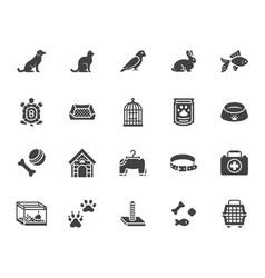 Pet shop flat glyph icons set dog carrier cat vector