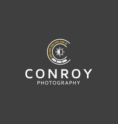 Photo camera with letter c logo design inspiration vector