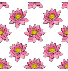 Pink water lily seamless pattern vector