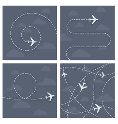 Plane flight with dotted trace airplane vector