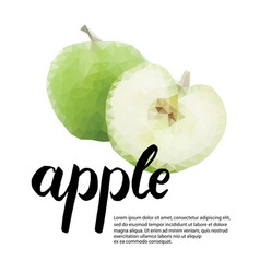 Polygonal poster with apple and handwritten vector