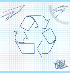 recycle symbol line sketch icon isolated on white vector image