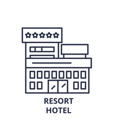 resort hotel line icon concept resort hotel vector image