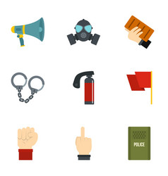 revolt demonstrate icon set flat style vector image