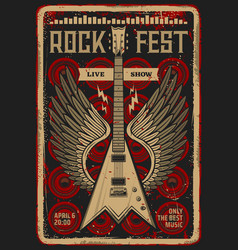 Rock guitar retro poster music festival concert vector
