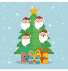 Santa gifts and pine tree cartoons of chistmas vector