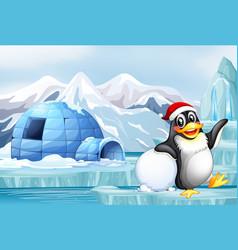 Scene with happy penguin vector