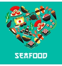Seafood Japanese cuisine heart poster vector
