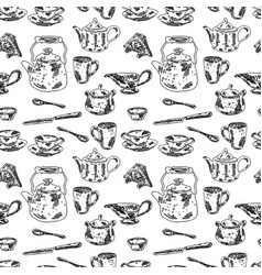 Seamless background of tableware for tea drinking vector