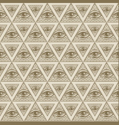 Seamless pattern with pyramids and all-seeing eye vector