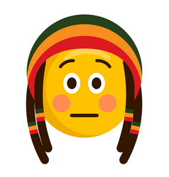 Serious emoji with a reggae hat vector