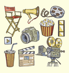 set of colored objects on the theme of cinema vector image