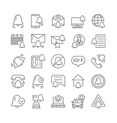 Simple set of notifications line icons vector