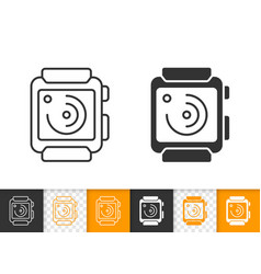 smart watch simple black line icon vector image