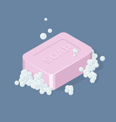 Soap bar with bubbles isometric vector