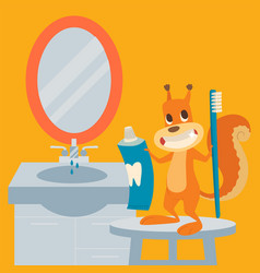 Squirrel brushes teeth oral health prevention vector