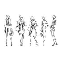 street look fashion sketch vector image