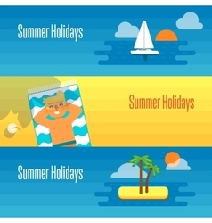 Summer Holidays Banner with Man Sunbathes vector image