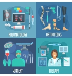 Surgery therapy orthopedic rheumatology icons vector
