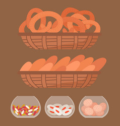 Tasty pastry bakery cookies and bread in basket vector