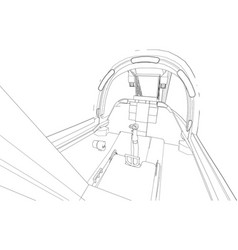 the cockpit of combat aircraft from the inside vector image