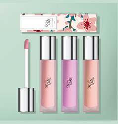 Transparent frosted plastic lip gloss vector