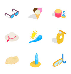 Vacation icons isometric 3d style vector