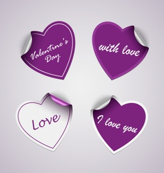 Valentine violet heart stickers vector image